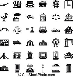 Small city icons set, simple style - Small city icons set....