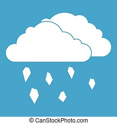 Clouds and hail icon white isolated on blue background...