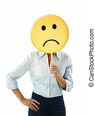 businesswoman with emoticon - adult business woman holding...