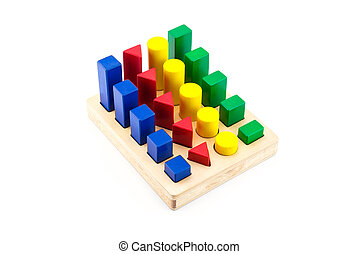 toy wood block multicolor building construction bricks isolated on white background.