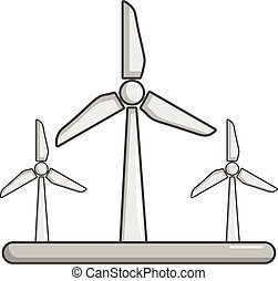 Eolic turbine icon, cartoon style - Eolic turbine icon....