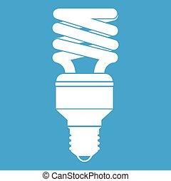 Energy saving bulb icon white isolated on blue background...
