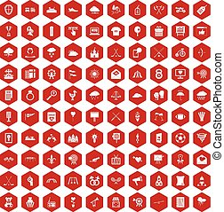 100 arrow icons hexagon red - 100 arrow icons set in red...