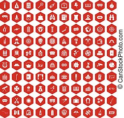 100 adult games icons hexagon red - 100 adult games icons...