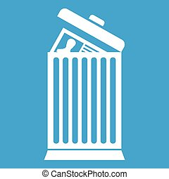 Resume thrown away in the trash can icon white isolated on...