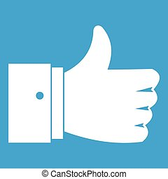 Thumb up gesture icon white isolated on blue background...