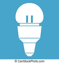 Reflector bulb icon white isolated on blue background vector...