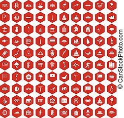 100 asian icons hexagon red - 100 asian icons set in red...