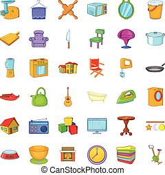 Good home icons set, cartoon style