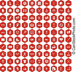 100 athlete icons hexagon red - 100 athlete icons set in red...