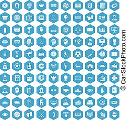 100 totalizator icons set blue - 100 totalizator icons set...