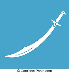 Scimitar sword icon white isolated on blue background vector...