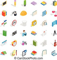 College diploma icons set, isometric style - College diploma...