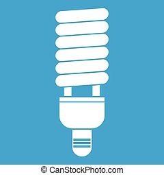 Fluorescent bulb icon white isolated on blue background...