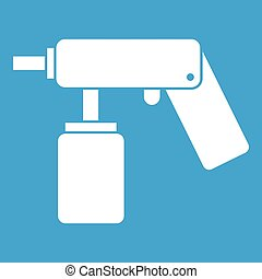 Spray aerosol can bottle with a nozzle icon white isolated...