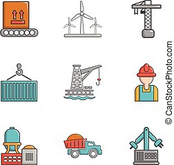 Heavy industry icons set, cartoon style