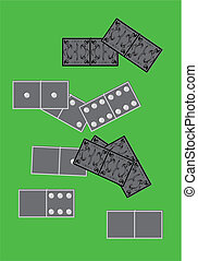 1.Dominoes board game. - Dominoes board game on a green...