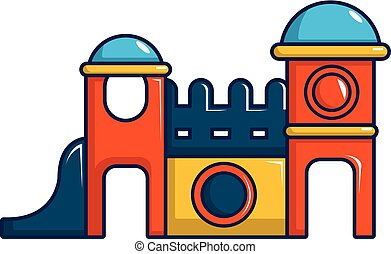Kids playing house icon, cartoon style