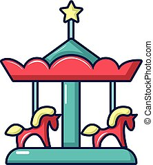 Carousel with horses icon, cartoon style - Carousel with...