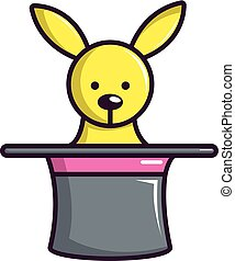 Cute bunny rabbit in magic hat icon, cartoon style