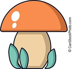Kids toy mushroom icon, cartoon style - Kids toy mushroom...