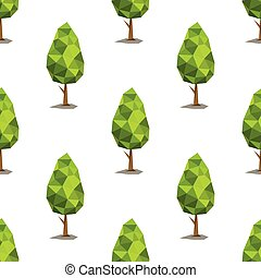 Green low polygonal trees seamless pattern in cartoon style isolated on white background vector illustration