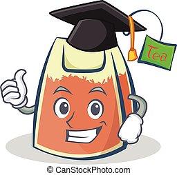 Graduation tea bag character cartoon vector art