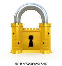 Security padlock isolated on white