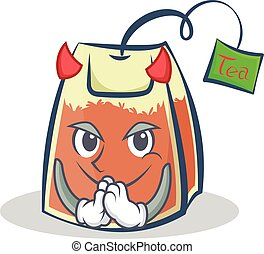 Devil tea bag character cartoon vector art
