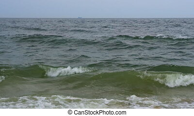 Large waves, Diagonal Fly over green sea or ocean surface,...