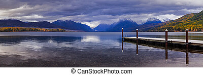 The dock on Lake MacDonald in Glacier National Park. - The...