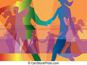 Dancing couples colorful background.