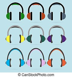 Set of colorful headphone icons