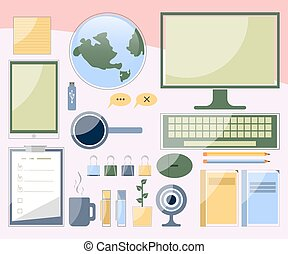 Computer devices, workplace. Office concept.