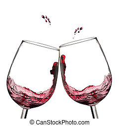 Wine toast - Two wine glasses in toasting with splash
