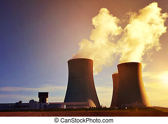 Nuclear power plant Temelin at sunrise.