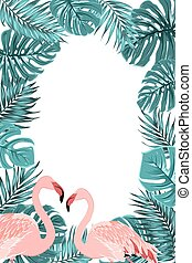 Tropical border frame turquoise leaves flamingo