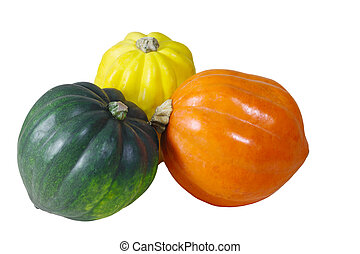 Gourds - Orange, yellow, green pumpkin gourds isolated on...