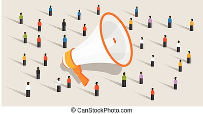 mass marketing communication to group of people loudspeaker...