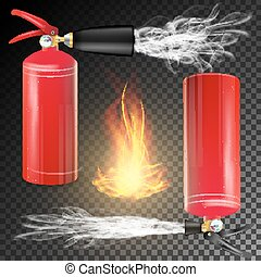 Red Fire Extinguisher Vector. Fire Flame Sign And Metal Red...