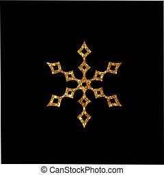 gouden, ster, plat, versiering,  Retro, schitteren, Kerstmis, pictogram