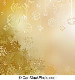 Golden christmas background with baubles . EPS 8 vector file...