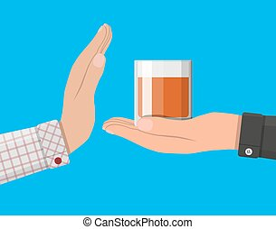 Alcohol abuse concept. Hand gives glass of whiskey to other...