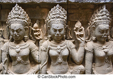 Terrace of the Leper King, Cambodia - Image of ancient...