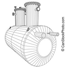 Industrial equipment capacity. Wire-frame. EPS10 format. Vector rendering of 3d