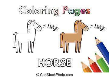 Cartoon Horse Coloring Book - Cartoon horse illustration....