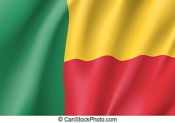 Benin realistic flag - Benin flag. National patriotic symbol...