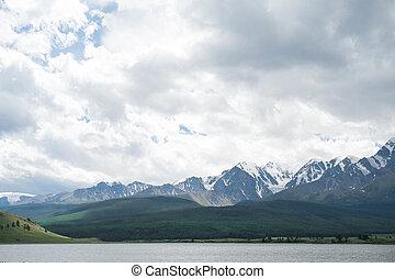 Majestic mountain lake in Altay. - Majestic mountain lake in...