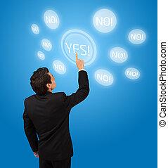 business man pressing touchscreen button - business man...