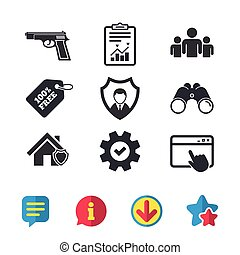 Security agency icons. Home shield protection. - Security...